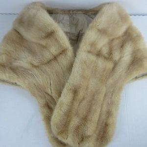 Vtg 50's Real Ranch Mink Fur Stole Wrap Shawl
